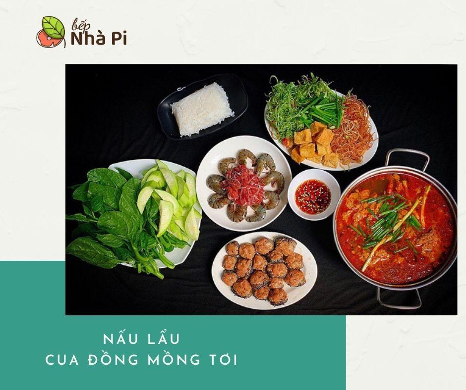 cách nấu lẩu cua đồng mồng tơi | bếp nhà pi | bepnhapi.com