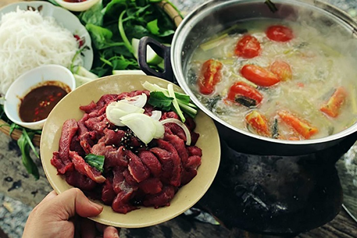 Cách nấu thịt trâu nhúng mẻ