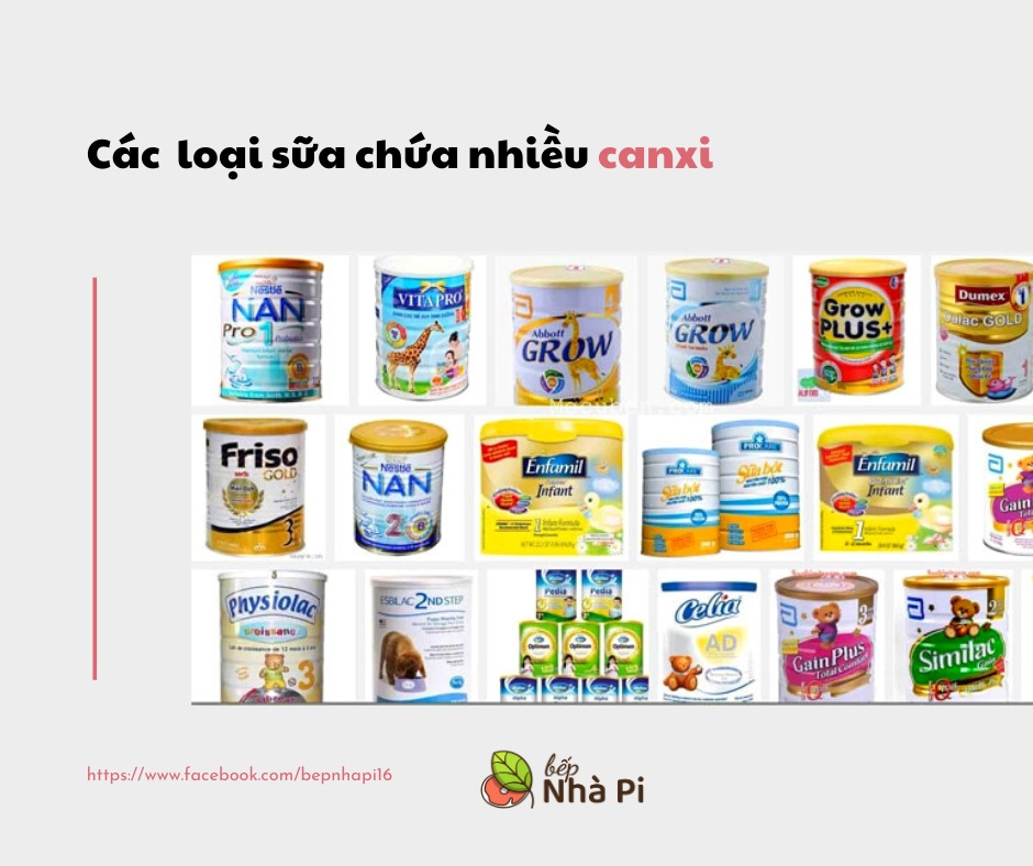 Các loại sữa chứa nhiều canxi