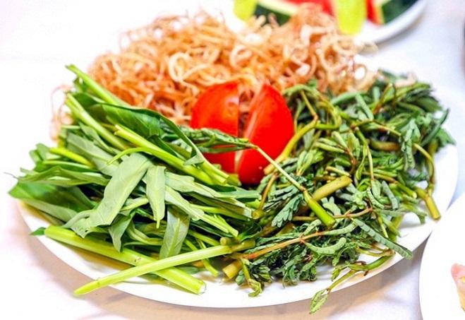 Những loại rau ăn kèm lẩu cá bớp cực ngon